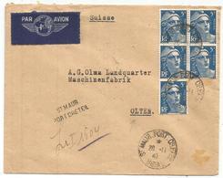 GANDON 5FR BLEU BLOC DE 5 LETTRE REC PROVISOIRE AVION ST MAUR PORT CRETEIL 26.11.1947 POUR SUISSE AU TARIF - 1945-54 Marianne De Gandon