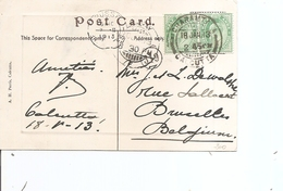 Inde Anglaise ( CP De 1913 De Calcutta Vers La Belgique à Voir) - 1902-11 Roi Edouard VII