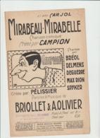 (MUSI2)Mirabeau-Mirabelle  , CAMPION , BREOL , PELISSIER , DELMENS , Paroles & Musique BRIOLLET & A OLIVIER - Partitions Musicales Anciennes