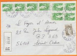 Sabine De GANDON 1f40 Vert Y.T. 2154 BLOC De 4 + BANDE De 4 + 1f00 Olive Sur Enveloppe Rec De 56 PLOUAY Morbihan 1982 - 1977-81 Sabine Of Gandon