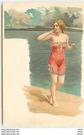 N°11411 - Carte Fantaisie - Femme - Baigneuse N°3 - Women