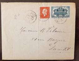 FRANCE, Lettre, Cover, Yvert 609+685 Sur Lettre De CEZY Pour Paris En 1945. Affranchissement Mixte - Postmark Collection (Covers)