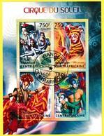 Bloc Feuillet Oblitéré De 4 Timbres-poste - Cirque Du Soleil - République Centrafricaine 2013 - Central African Republic
