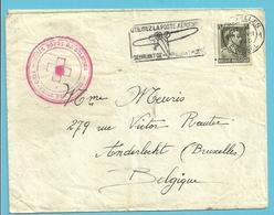 480 Op Brief (verzonden Vanuit PARIS) Stempel BRUXELLES 10/7/40 Met Stempel CROIX ROUGE DE BELGIQUE - Guerre 40-45