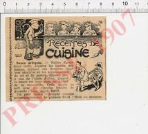Presse 1907 Recette De Cuisine Sauce Arlequin Humour Costume Pierrot Carnaval 229K - Vieux Papiers