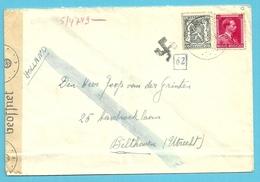 527+528 Op Brief Vanuit Wommelgem Naar Utrecht (Nederland) Met Censuurstrook En Stempel HAAKENKRUIS (CROCHET CROSS) ?? - Guerre 40-45