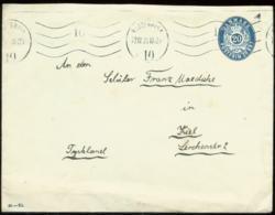 17197 Dänemark 20 Öre GS Umschlag Kopenhagen -  Kiel 1920 , Bedarfserhaltung , Öffnungsmängel. - Postal Stationery