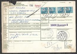 USED PARCEL CARD DENMARK TO PAKISTAN - Danimarca