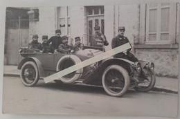 1914 Voiture état Majors 6 Eme Région Militaire Chalons Sur Marne Conducteurs Vestes Cuir Poilu Ww1 1914 Carte Photo - Guerre, Militaire