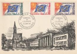FDC Sur Carte : Conseil De L'Europe (Strasbourg, Bas-Rhin, 67) Du 16-01-1965 (Service YT29, 30 Et 34) - 1960-1969