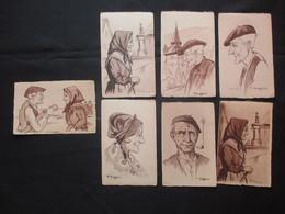 LOT 6 + 1 CP ILLUSTRATEUR (V1911) F. HUYGEN (2 VUES) Type Basque, Montagnarde, Mendiante, Retour Au Village, 1 Bon Vieux - Illustrators & Photographers