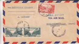 Liban - Lettre De 1949 - Oblit Beyrouth - Exp Vers Rocq Recquignies - Avec Timbre Pour L'Armée Libanaise - Liban