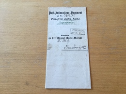 FL3525 Preussen 1858 Post-Insinuations-Dokument Von Naumburg Nach Stoessen - Preussen