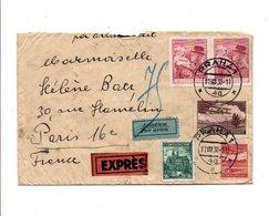 TCHECOSLOVAQUIE AFFRANCHISSEMENT COMPOSE SUR LETTRE EXPRES RECOMMANDEE DE PRAGUE POUR LA FRANCE 1938 - Czechoslovakia