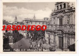 ACIREALE - BASILICATA E VIA RUGGERO F/GRANDE VIAGGIATA 1956 ANIMAZIONE - Acireale