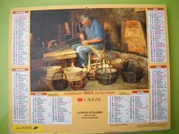 1183 Calendrier Du Facteur 1994  Vieux Métiers, Vannier, Sabotier, Paniers, Sabots, - Grand Format : 1991-00