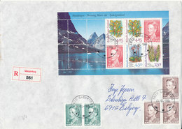 Greenland Registered Cover Sent To Denmark Qaqortoq 5-3-1996 With Minisheet From Booklet + Stamps - Groenlandia