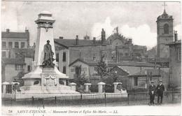 CPA DE SAINT-ETIENNE  (LOIRE)  MONUMENT DORIAN ET EGLISE STE- MARIE - Saint Etienne