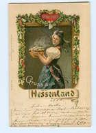 Y9677/ Gruß Aus Dem Hessenland  Trachten Litho AK 1900 - Folklore
