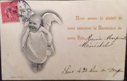"""Cpa, Faire Part De Naissance, Bébé Ange, écrite En 1906, Timbre, éd """"déposé O.E.P - Naissance"""