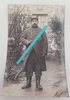 1914 1915 Poilu 82 Eme Régiment D'inf  Montargis Capote Gris Fer Pantalon Velour Képi Tranchée Ww1 1914 Carte Photo - Guerre, Militaire