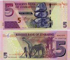 ZIMBABWE       5 Dollars       P-100       2016       UNC - Zimbabwe