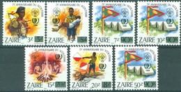 Zaire 1985 OCBnr. 1293-1299 *** MNH  Cote 19,00 Euro Scoutisme Surcharge Avec Nouvelles Valeurs - 1980-89: Ongebruikt