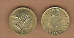 AC - TURKEY 1 KURUS 1961 BRASS UNCIRCULATED - Turquia