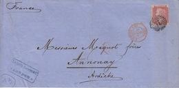 Lettre De Londres Pour Annonay Le 9 Sept 66 Sur N° 26 1p Rouge, Marque PD Et Amb. Calais C Rouge - Briefe U. Dokumente