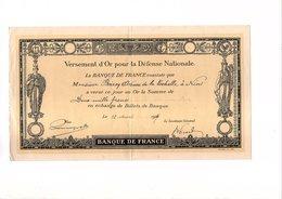 Versement D'Or Pour La Défense Nationale - Banque De France 12 Mars 1917 Niort Militaria - Unclassified