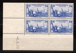 France N° 458**, Bloc De 4 Coin Daté 06-05-1940, Superbe - Coins Datés