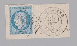 N° 60 GC 3415 + T 17 Sissonne Dept 2 Aisne - Marcophilie (Timbres Détachés)