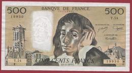 "500 Francs""Pascal"" Du 06/11/1975.E----TTB+---ALPH.Y.54 - 1962-1997 ''Francs''"
