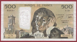 "500 Francs""Pascal"" Du 03/02/1977.D.----TTB+---ALPH.V.70 - 500 F 1968-1993 ''Pascal''"