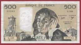 """500 Francs""""Pascal"""" Du 06/01/1983.C.----TTB+---ALPH.G.169 - 1962-1997 ''Francs''"""