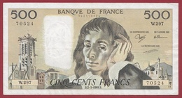 "500 Francs""Pascal"" Du 02/03/1989.B.----TTB+---ALPH.W.297 - 1962-1997 ''Francs''"