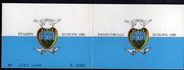 REPUBBLICA DI SAN MARINO 1982 EUROPA UNITA CEPT LIBRETTO BOOKLET 4 SERIE COMPLETA COMPLETE SET MNH - Booklets