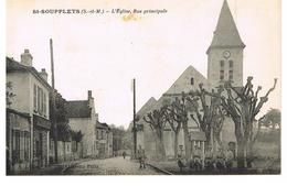 CPA SAINT-SOUPPLETS-L'EGLISE RUE PRINCIPALE-GUERITE AVEC SOLDATS - Autres Communes