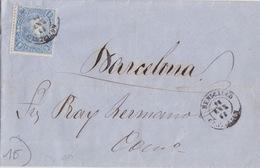 Lettre De Benicarlo Pour Barcelone Obl. Benicarlo Castellon Le 16 Janv 1865 Sur 4r Bleu (Isabelle II) N°73 - 1850-68 Königreich: Isabella II.