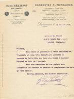 FA  1752   FACTURE -  CONSERVES ALIMENTAIRES SARDINES MAQUREAUX  THON   RENE BEZIERS DOUARNENEZ - 1900 – 1949