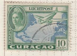 PIA - CURAçAO - 1943 -Francobollo Di Posta Aerea - Aereo Sopra L' Atlantico E Regina Guglielmina - (Yv  P.A.25) - Antille