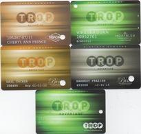 Lot De 5 Cartes : TROP Avantage : Tropicana Laughlin / Montbleu Lake Tahoe / Belle Of Baton Rouge / Casino Greenville - Cartes De Casino