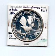 WESTERN SAMOA 10 TALA 1986 ZILVER PROOF 25th ANN. WWF FANTAIL BIRD - Samoa