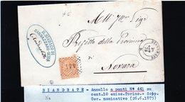 CG29 - Lettera Da Biandrate Per Novara 26/6/1875 - Marcophilia