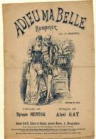 Partition Musicale Ancienne ADIEU MA BELLE  Illustration : ? Musique : Abel GAY Paroles : Sylvain HERTOH - Partitions Musicales Anciennes