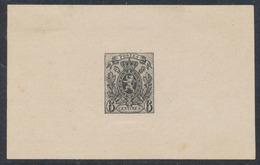 Essai - Petit Lion (Valeur Non émise), Coin Achevé Avec Brisure Du Cadre Papier Blanc Non Découpé 6C Noir / STES 1375 - Essais & Réimpressions