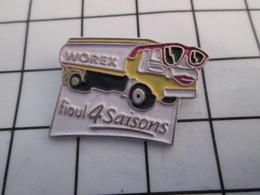 816a Pin's Pins / Beau Et Rare / THEME : CARBURANTS / CAMION WOREX AVEC LUNETTES DE SOLEIL FIOUL 4 SAISONS - Carburants