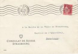 Env Affr Y&T 283 Obl OMEC STRASBOURG PL DE LA CATHEDRALE Du 31 MARS 37 Adressée à Strasbourg - Alsace Lorraine