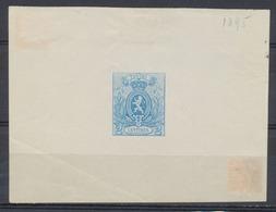 Essai - épreuve Du Coin Achevé Type Petit Lion 2ctm Bleu En Petit Feuillet + Inscription Coin Supérieur Découpé (1895) - Essais & Réimpressions