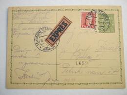 1933 , Ganzsache Als Eilkarte Mit Bahnpoststempel - Czechoslovakia